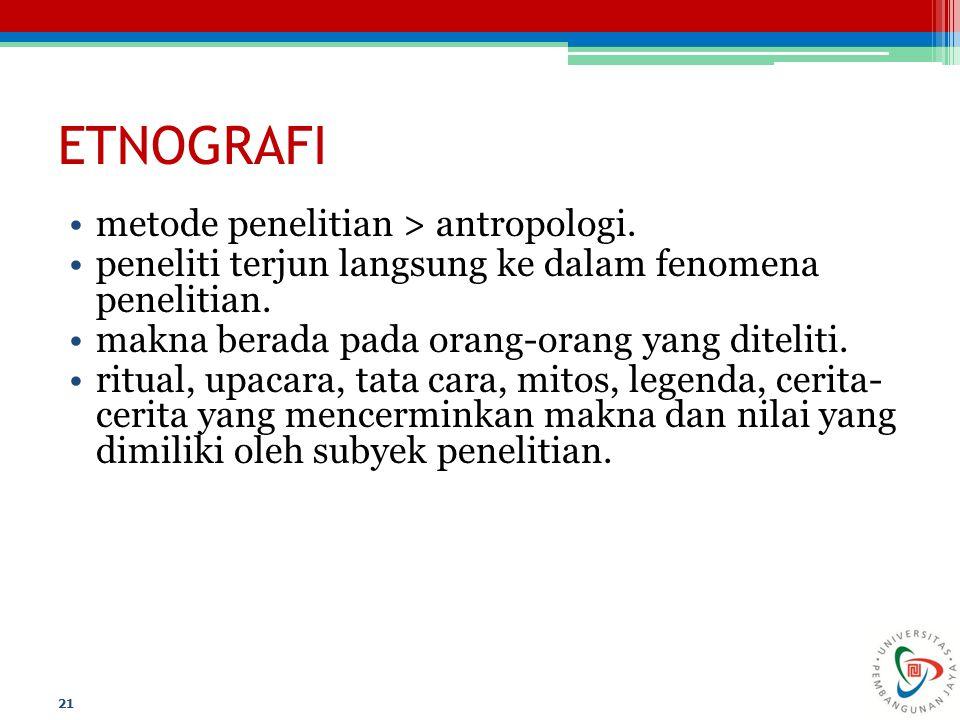ETNOGRAFI metode penelitian > antropologi. peneliti terjun langsung ke dalam fenomena penelitian. makna berada pada orang-orang yang diteliti. ritual,