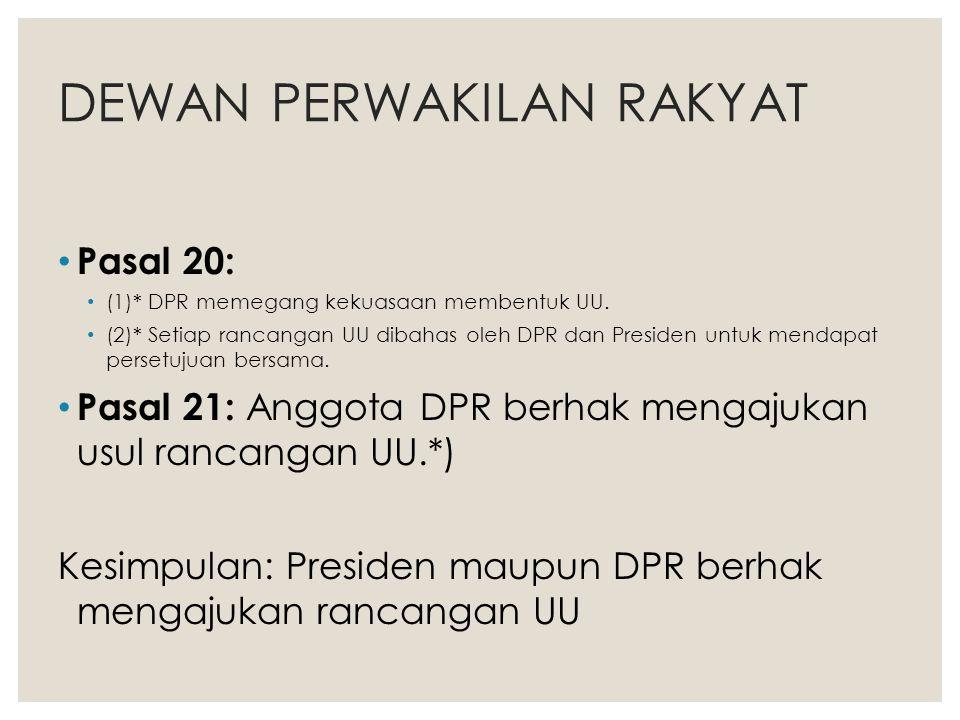 DEWAN PERWAKILAN RAKYAT Pasal 20: (1)* DPR memegang kekuasaan membentuk UU. (2)* Setiap rancangan UU dibahas oleh DPR dan Presiden untuk mendapat pers
