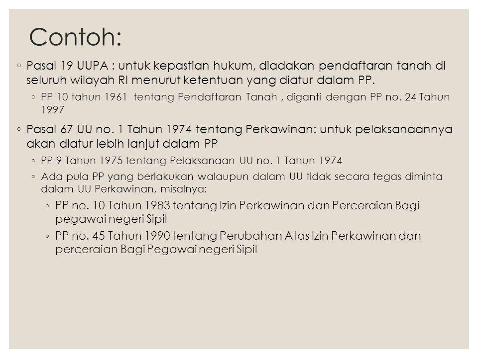 Contoh: ◦ Pasal 19 UUPA : untuk kepastian hukum, diadakan pendaftaran tanah di seluruh wilayah RI menurut ketentuan yang diatur dalam PP. ◦ PP 10 tahu