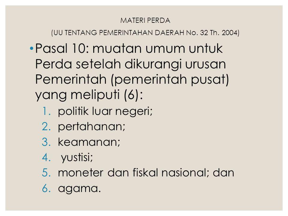 MATERI PERDA (UU TENTANG PEMERINTAHAN DAERAH No. 32 Th. 2004) Pasal 10: muatan umum untuk Perda setelah dikurangi urusan Pemerintah (pemerintah pusat)