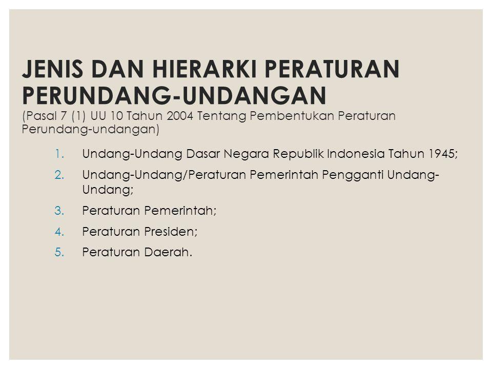 JENIS DAN HIERARKI PERATURAN PERUNDANG-UNDANGAN (Pasal 7 (1) UU 10 Tahun 2004 Tentang Pembentukan Peraturan Perundang-undangan) 1.Undang-Undang Dasar