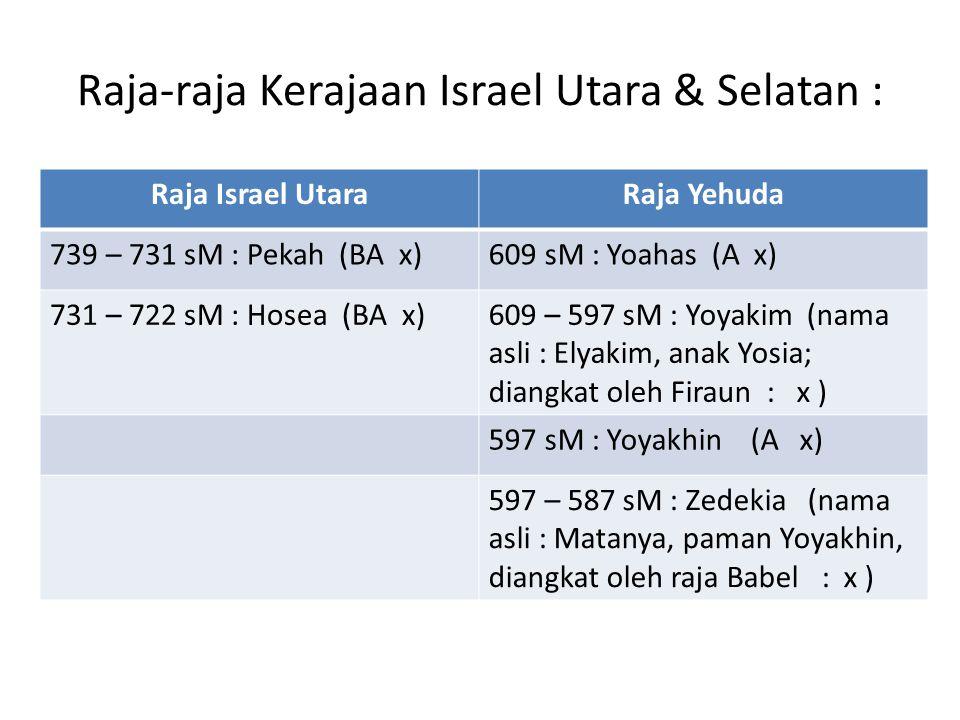 Raja-raja Kerajaan Israel Utara & Selatan : Raja Israel UtaraRaja Yehuda 739 – 731 sM : Pekah (BA x)609 sM : Yoahas (A x) 731 – 722 sM : Hosea (BA x)6
