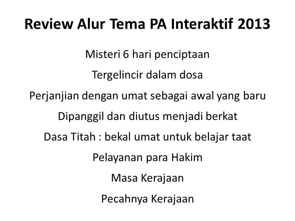 Review Alur Tema PA Interaktif 2013 Misteri 6 hari penciptaan Tergelincir dalam dosa Perjanjian dengan umat sebagai awal yang baru Dipanggil dan diutu