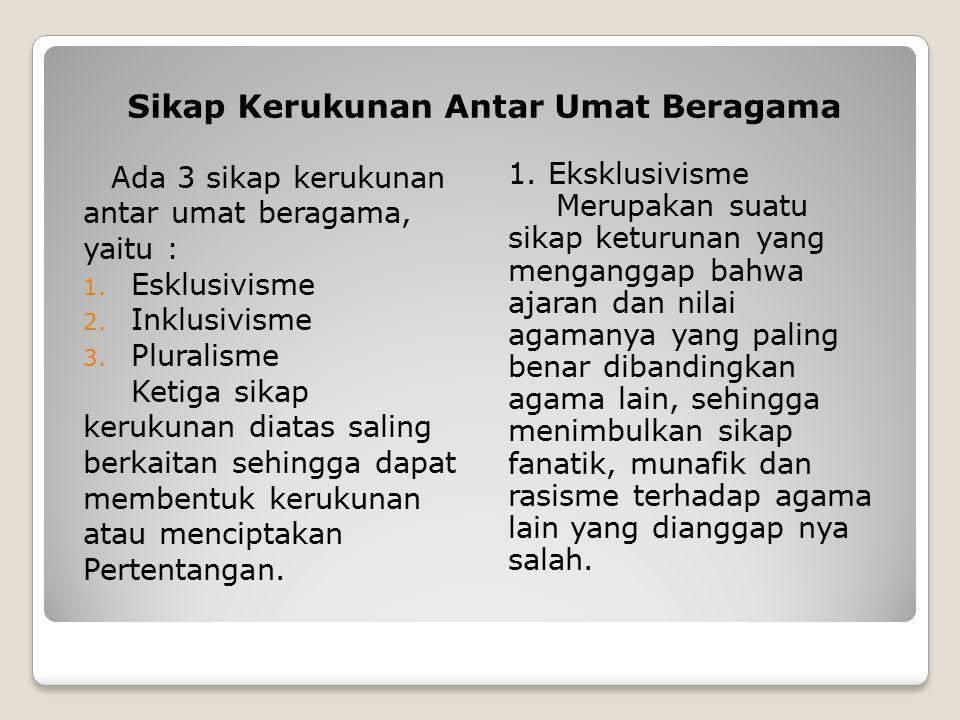 Sikap Kerukunan Antar Umat Beragama Ada 3 sikap kerukunan antar umat beragama, yaitu : 1.