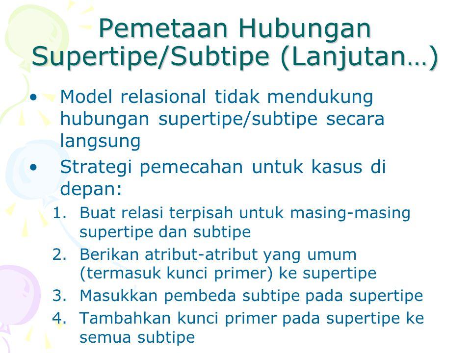 Pemetaan Hubungan Supertipe/Subtipe (Lanjutan…) Model relasional tidak mendukung hubungan supertipe/subtipe secara langsung Strategi pemecahan untuk k