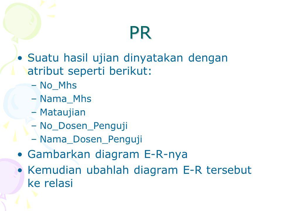 PR Suatu hasil ujian dinyatakan dengan atribut seperti berikut: –No_Mhs –Nama_Mhs –Mataujian –No_Dosen_Penguji –Nama_Dosen_Penguji Gambarkan diagram E