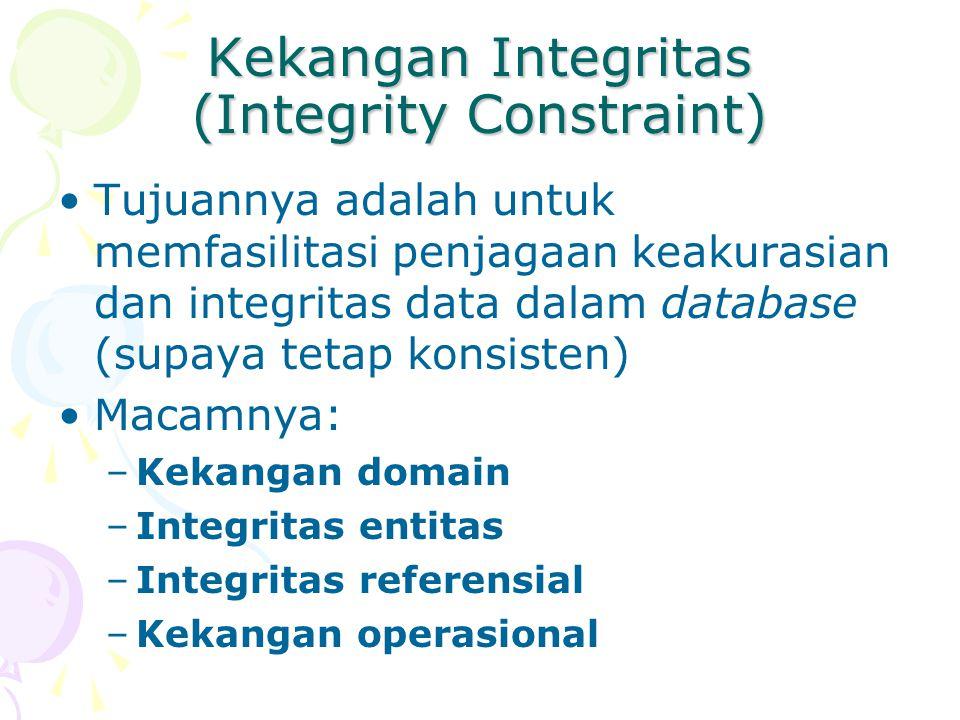 Kekangan Domain Memastikan data dalam domain yang telah ditetapkan Domain adalah kemungkinan nilai terhadap suatu atribut Contoh: –A,B,C,D,E untuk nilai –TRUE untuk pria dan FALSE untuk wanita –INTEGER untuk menyatakan nilai bulat Dalam praktek, domain juga mencakup panjang data Contoh: –CHARACTER, SIZE 35 –INTEGER, 3 DIGITS