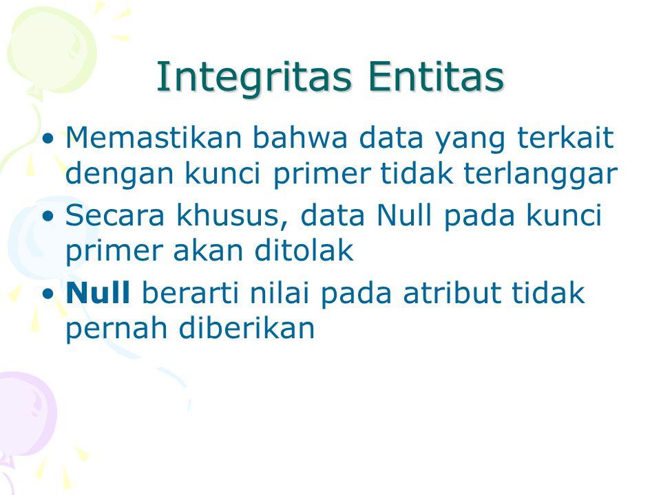 Integritas Entitas Memastikan bahwa data yang terkait dengan kunci primer tidak terlanggar Secara khusus, data Null pada kunci primer akan ditolak Nul