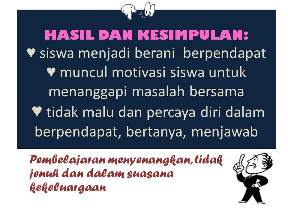 HASIL DAN KESIMPULAN: ♥ siswa menjadi berani berpendapat ♥ muncul motivasi siswa untuk menanggapi masalah bersama ♥ tidak malu dan percaya diri dalam