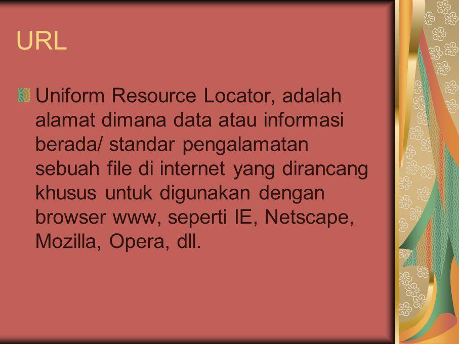 URL Uniform Resource Locator, adalah alamat dimana data atau informasi berada/ standar pengalamatan sebuah file di internet yang dirancang khusus untu