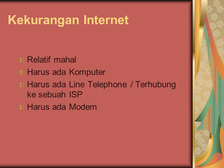 Kekurangan Internet Relatif mahal Harus ada Komputer Harus ada Line Telephone / Terhubung ke sebuah ISP Harus ada Modem