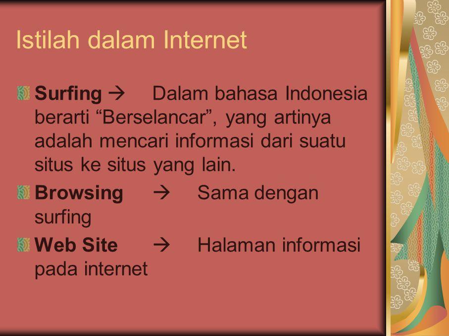 """Istilah dalam Internet Surfing  Dalam bahasa Indonesia berarti """"Berselancar"""", yang artinya adalah mencari informasi dari suatu situs ke situs yang la"""
