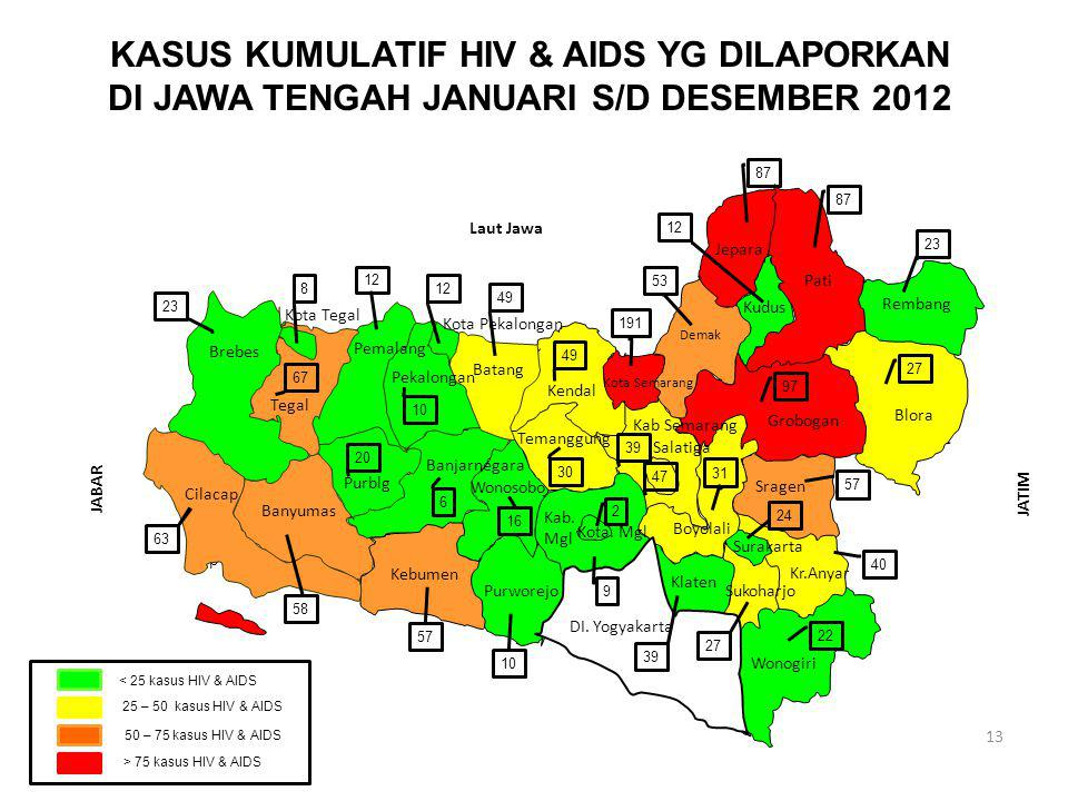 SARANA KESEHATAN JATIM 13 KASUS KUMULATIF HIV & AIDS YG DILAPORKAN DI JAWA TENGAH JANUARI S/D DESEMBER 2012