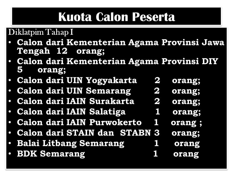 Kuota Calon Peserta Diklatpim Tahap I Calon dari Kementerian Agama Provinsi Jawa Tengah 12 orang; Calon dari Kementerian Agama Provinsi DIY 5 orang; C