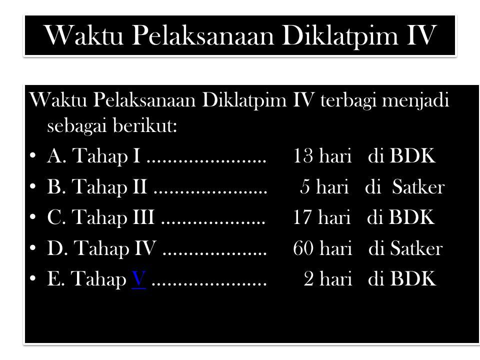 Waktu Pelaksanaan Diklatpim IV Waktu Pelaksanaan Diklatpim IV terbagi menjadi sebagai berikut: A. Tahap I ………………….. 13 hari di BDK B. Tahap II ……………..
