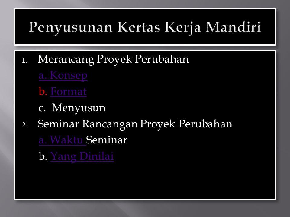 1. Merancang Proyek Perubahan a. Konsep b. FormatFormat c. Menyusun 2. Seminar Rancangan Proyek Perubahan a. Waktu Seminara. Waktu b. Yang DinilaiYang