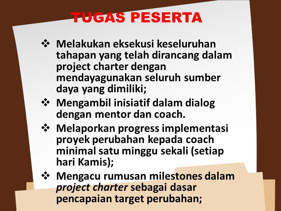 Melakukan eksekusi keseluruhan tahapan yang telah dirancang dalam project charter dengan mendayagunakan seluruh sumber daya yang dimiliki;  Mengamb