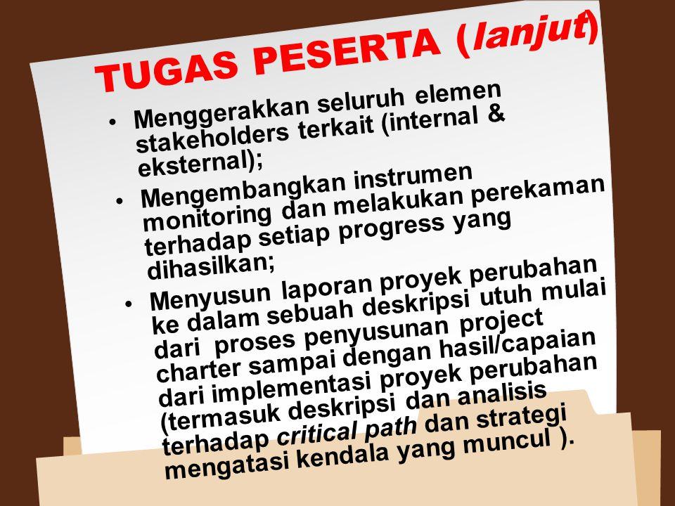 TUGAS PESERTA (lanjut) Menggerakkan seluruh elemen stakeholders terkait (internal & eksternal); Mengembangkan instrumen monitoring dan melakukan perek