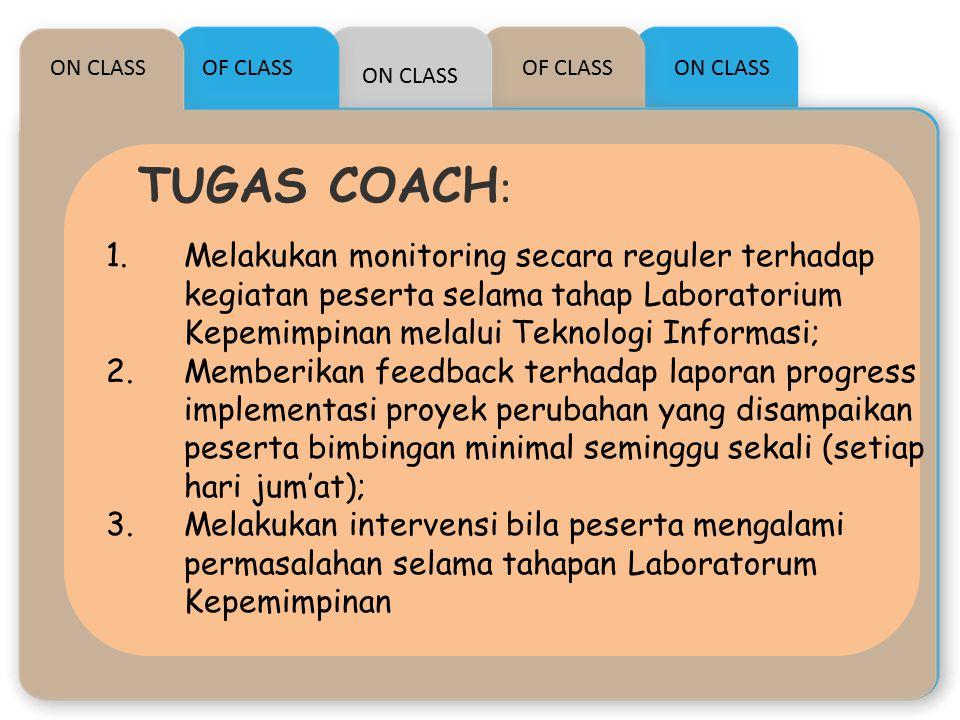 ON CLASS TUGAS COACH : OF CLASS ON CLASS OF CLASS 1.Melakukan monitoring secara reguler terhadap kegiatan peserta selama tahap Laboratorium Kepemimpin