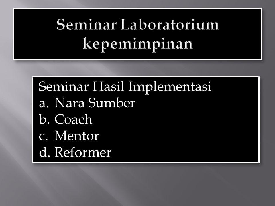 Seminar Hasil Implementasi a.Nara Sumber b.Coach c.Mentor d.Reformer Seminar Hasil Implementasi a.Nara Sumber b.Coach c.Mentor d.Reformer