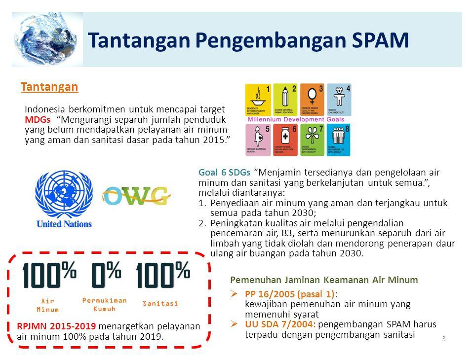 "Tantangan Pengembangan SPAM Tantangan Indonesia berkomitmen untuk mencapai target MDGs ""Mengurangi separuh jumlah penduduk yang belum mendapatkan pela"