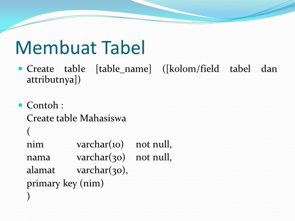 Membuat Tabel Create table [table_name] ([kolom/field tabel dan attributnya]) Contoh : Create table Mahasiswa ( nim varchar(10)not null, namavarchar(3
