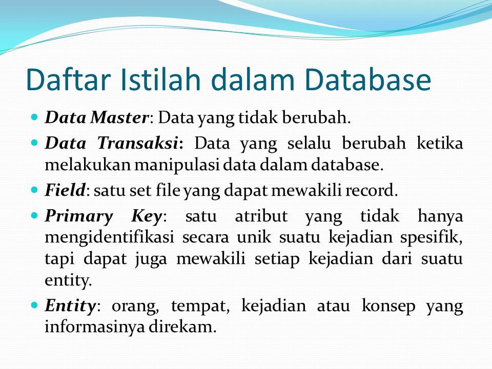 Daftar Istilah dalam Database Data Master: Data yang tidak berubah. Data Transaksi: Data yang selalu berubah ketika melakukan manipulasi data dalam da