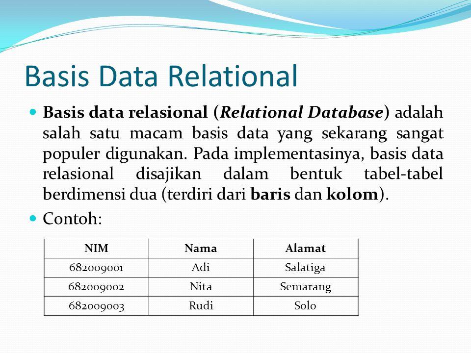 Basis Data Relational Basis data relasional (Relational Database) adalah salah satu macam basis data yang sekarang sangat populer digunakan. Pada impl