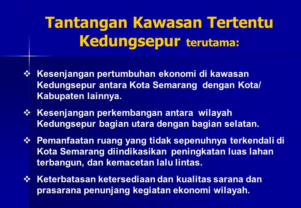  Kesenjangan pertumbuhan ekonomi di kawasan Kedungsepur antara Kota Semarang dengan Kota/ Kabupaten lainnya.  Kesenjangan perkembangan antara wilaya