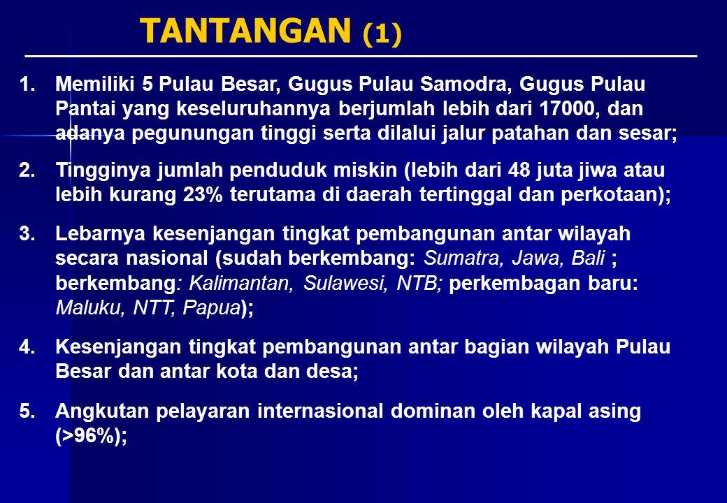 6.Angkutan laut belum didukung oleh infrastruktur yang mantap (pelabuhan, galangan kapal dll); 7.Sistem perdagangan ekspor-impor melalui pelabuhan laut terjadi di wilayah Sudah Berkembang (Thn 2001, hampir 40% total volume atau US$ 42,5 billion atau 65,2% dilakukan dari Tanjung Priok, Tanjung Perak dan Tanjung Emas); 8.Interaksi perdagangan dalam negeri melalui pelabuhan laut banyak terjadi di pelabuhan besar di wilayah Sudah Berkembang (>90%) menuju ke dan berasal dari Medan, Palembang, Jakarta, Cirebon, Surabaya, Makasar dan Semarang); 9.Belum dimanfaatkannya secara penuh peluang pasar Asia Pasifik (70% pasar dunia) dan pemanfaatan 3 Alur Laut Kepulauan Indonesia (ALKI); 10.Memiliki Pusat Pertumbuhan Ekonomi Nasional dan Internasional (PKN) dan memiliki Infrastruktur lainnya meliputi jalan lintas, listrik (SUTET) yang dominan di koridor utara Jawa, koridor pantai timur Sumatra, pada wilayah-wilayah pulau yang mengubungkan antar PKN tersebut TANTANGAN (2)