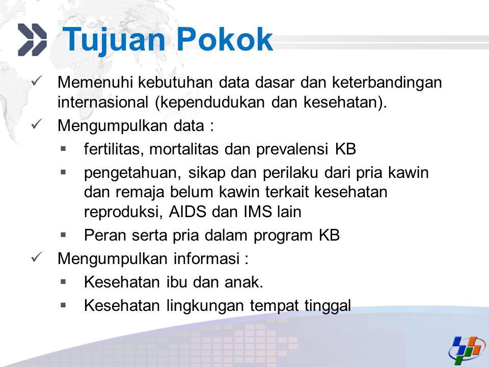 Add your company slogan LOGO Tujuan Pokok Memenuhi kebutuhan data dasar dan keterbandingan internasional (kependudukan dan kesehatan). Mengumpulkan da