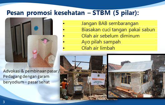 Pesan promosi kesehatan – STBM (5 pilar): Jangan BAB sembarangan Biasakan cuci tangan pakai sabun Olah air sebelum diminum Ayo pilah sampah Olah air limbah 3 Advokasi & pembinaan pasar / Pedagang dengan garam beryodium – pasar sehat