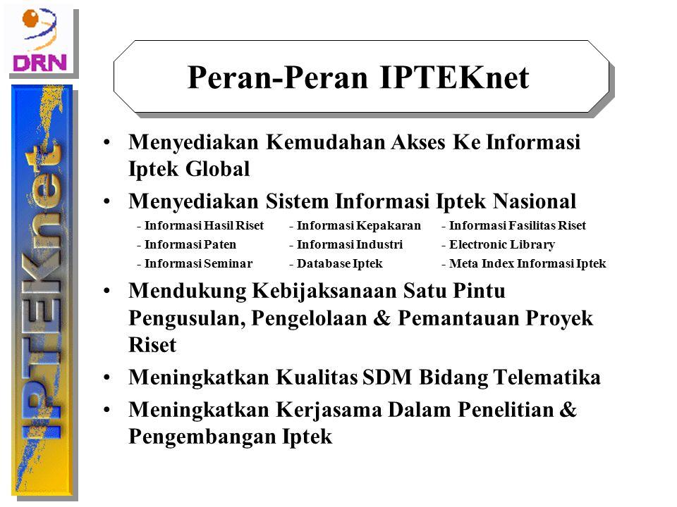 Strategi Pengembangan IPTEKnet Pengembangan Jaringan Memperluas jaringan IPTEKnet melalui pembentukan RN di berbagai daerah di seluruh Indonesia Meningkatkan kapasitas bandwidth Pengembangan Aplikasi Pengembangan meta-index tools Pengembangan Electronic Library, Electronic Data Interchange (EDI) Penyediaan Informasi Iptek Pengembangan pusat-pusat bank data Iptek Indonesia One Stop Service layanan informasi Iptek Nasional Pemasyarakatan Informasi Iptek Pembentukan IPTEKnet Society Pembentukan Group Collaboration Pengembangan SDM Pelatihan pengelola RN Pelatihan pengguna Pengembangan Organisasi & Manajemen Non-profit open-ended consortium Desentralisasi RN Kesinambungan Pengoperasian Pengembangan Business Plan Kolaborasi