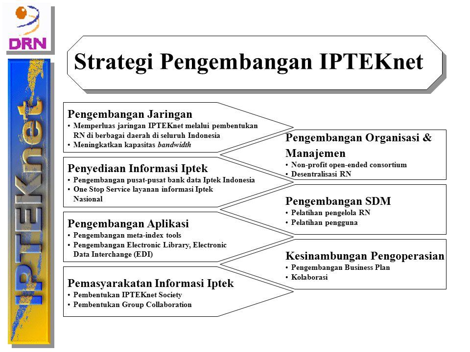 Strategi Pengembangan IPTEKnet Pengembangan Jaringan Memperluas jaringan IPTEKnet melalui pembentukan RN di berbagai daerah di seluruh Indonesia Menin