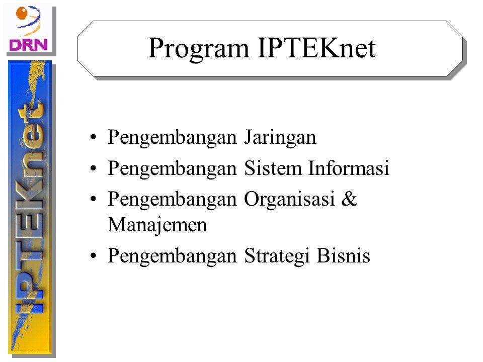 Pengembangan Jaringan PROGRAM Pengembangan Node IPTEKnet Pengembangan Network Manajemen dan Administrasi IPTEKnet Pengembangan Aplikasi Jaringan Pengembangan Infrastruktur Penelitian dan Pengembangan TUJUAN Memperluas jaringan IPTEKnet sehingga dapat diakses dari seluruh Indonesia