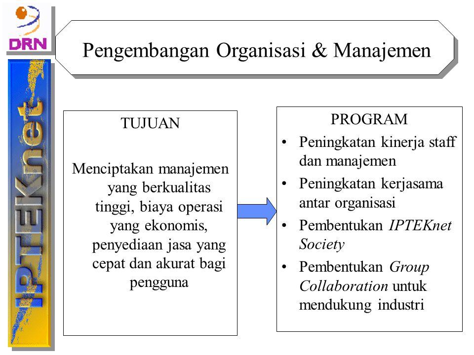 TUJUAN Menciptakan manajemen yang berkualitas tinggi, biaya operasi yang ekonomis, penyediaan jasa yang cepat dan akurat bagi pengguna Pengembangan Or