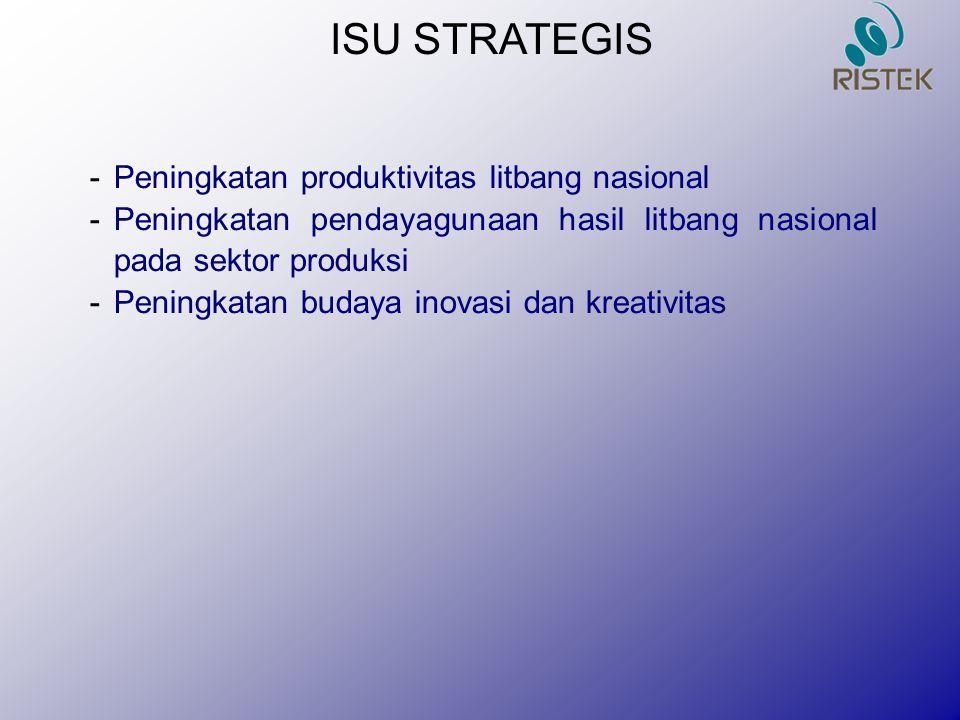 ISU STRATEGIS -Peningkatan produktivitas litbang nasional -Peningkatan pendayagunaan hasil litbang nasional pada sektor produksi -Peningkatan budaya i