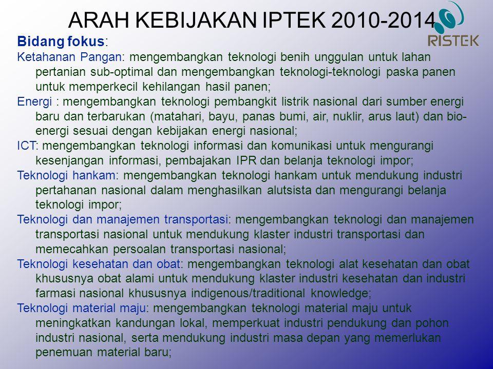 ARAH KEBIJAKAN IPTEK 2010-2014 Bidang fokus: Ketahanan Pangan: mengembangkan teknologi benih unggulan untuk lahan pertanian sub-optimal dan mengembang