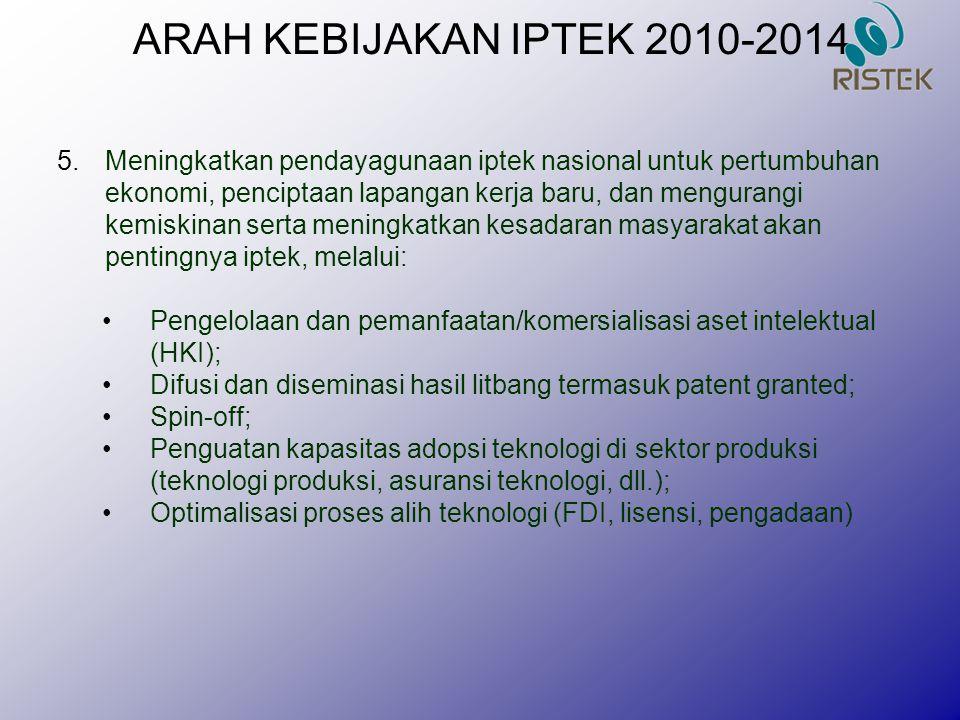ARAH KEBIJAKAN IPTEK 2010-2014 5.Meningkatkan pendayagunaan iptek nasional untuk pertumbuhan ekonomi, penciptaan lapangan kerja baru, dan mengurangi k