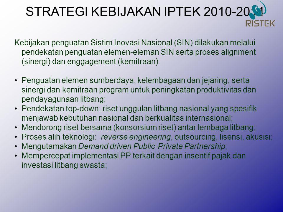 STRATEGI KEBIJAKAN IPTEK 2010-2014 Kebijakan penguatan Sistim Inovasi Nasional (SIN) dilakukan melalui pendekatan penguatan elemen-eleman SIN serta pr