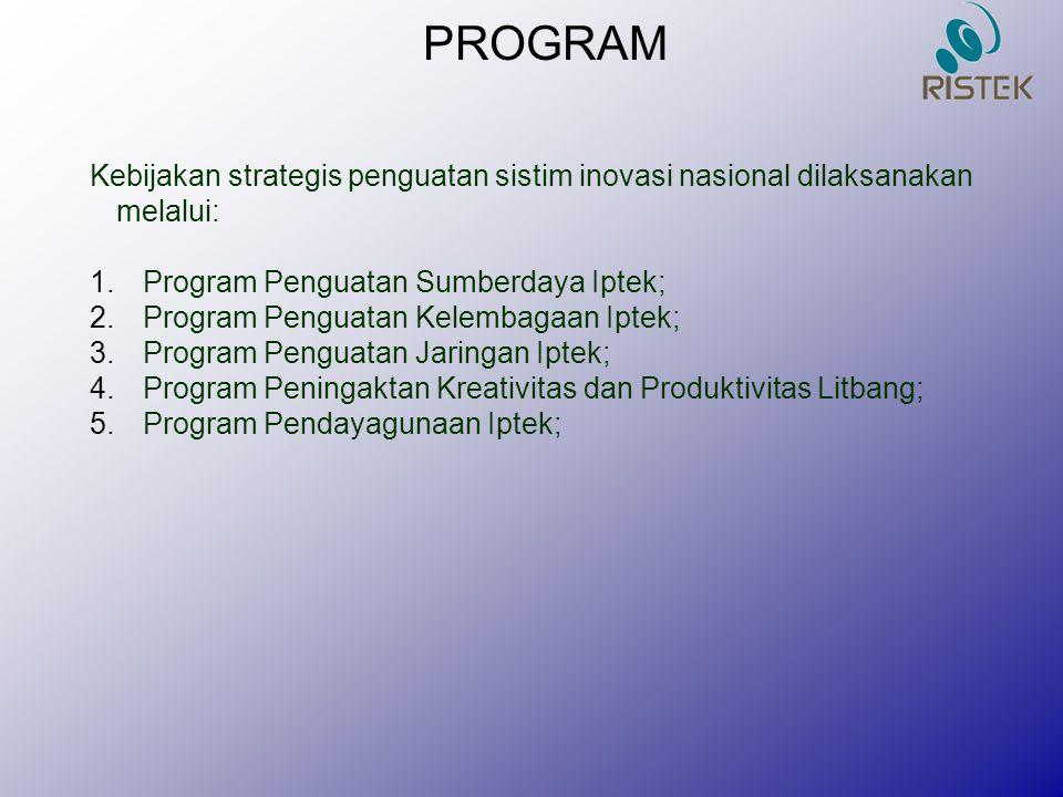 PROGRAM Kebijakan strategis penguatan sistim inovasi nasional dilaksanakan melalui: 1.Program Penguatan Sumberdaya Iptek; 2.Program Penguatan Kelembag