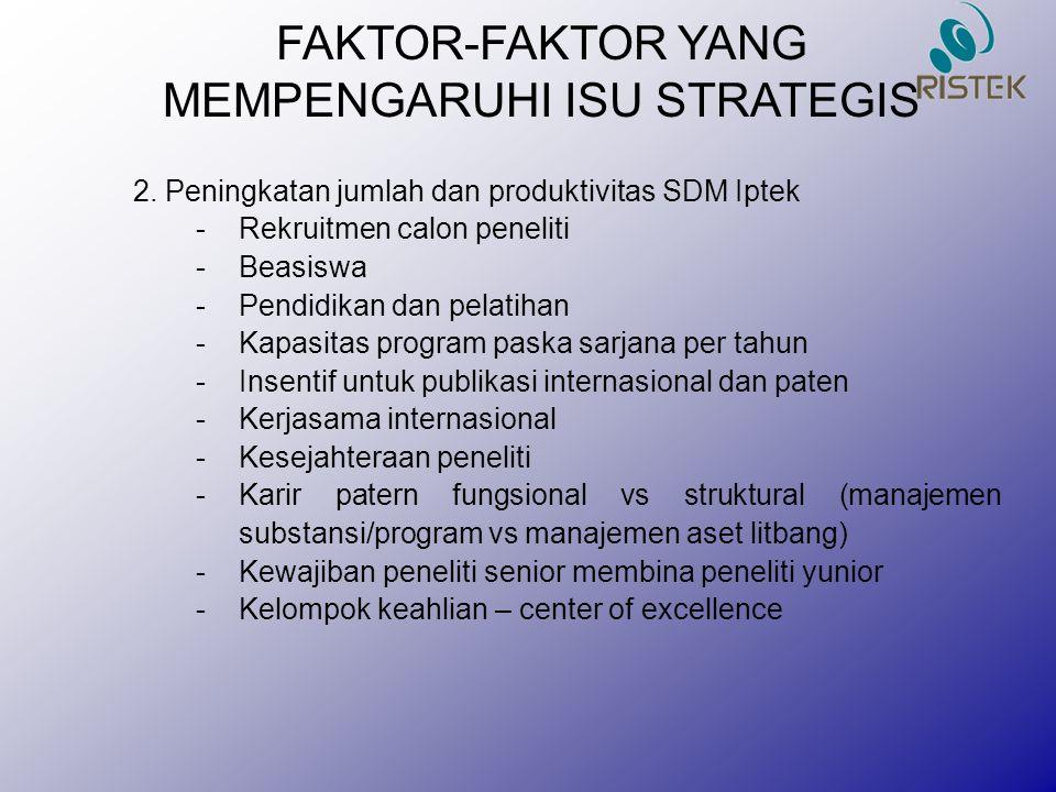 FAKTOR-FAKTOR YANG MEMPENGARUHI ISU STRATEGIS 2. Peningkatan jumlah dan produktivitas SDM Iptek -Rekruitmen calon peneliti -Beasiswa -Pendidikan dan p