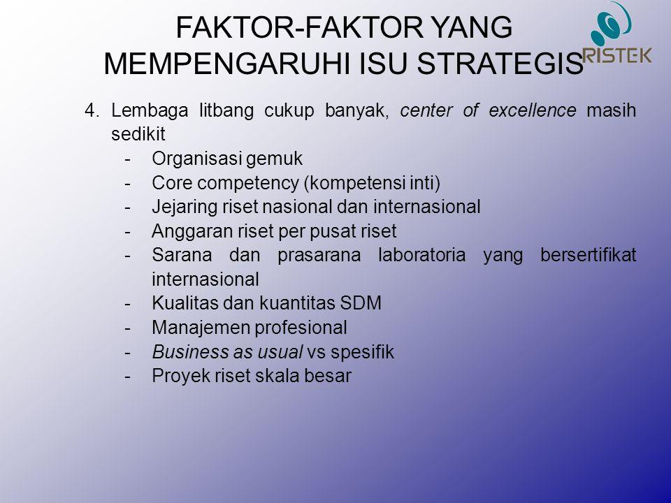 FAKTOR-FAKTOR YANG MEMPENGARUHI ISU STRATEGIS 4. Lembaga litbang cukup banyak, center of excellence masih sedikit -Organisasi gemuk -Core competency (