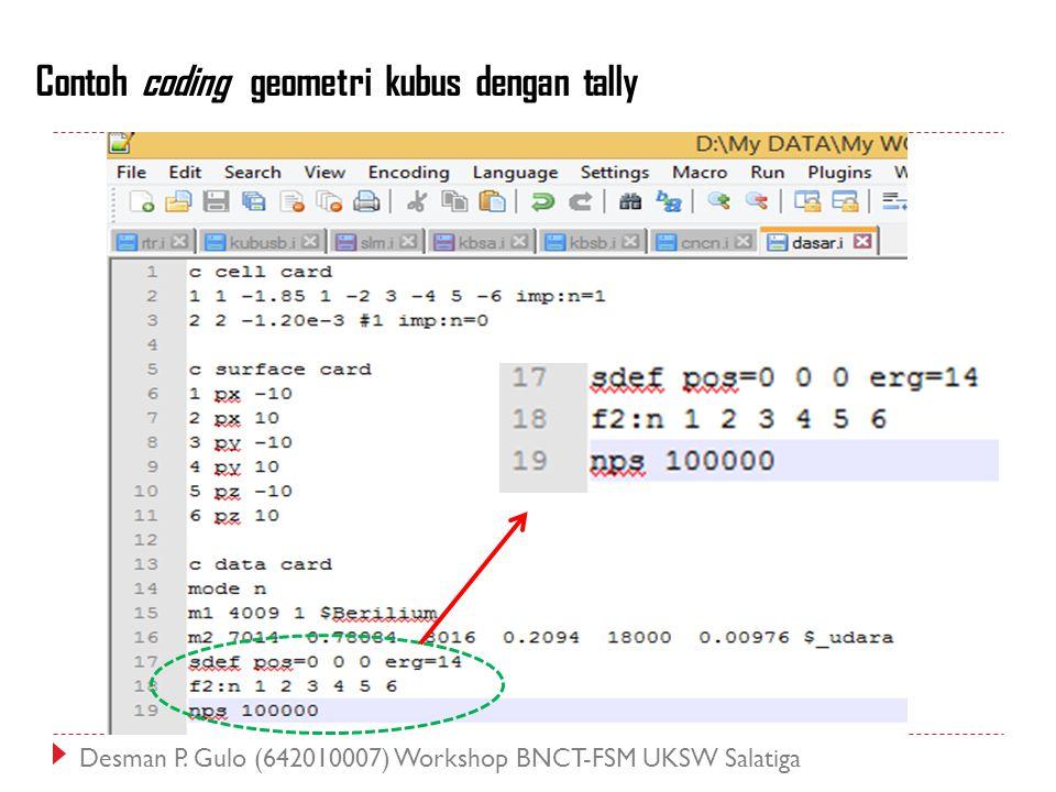Contoh coding geometri kubus dengan tally Desman P. Gulo (642010007) Workshop BNCT-FSM UKSW Salatiga