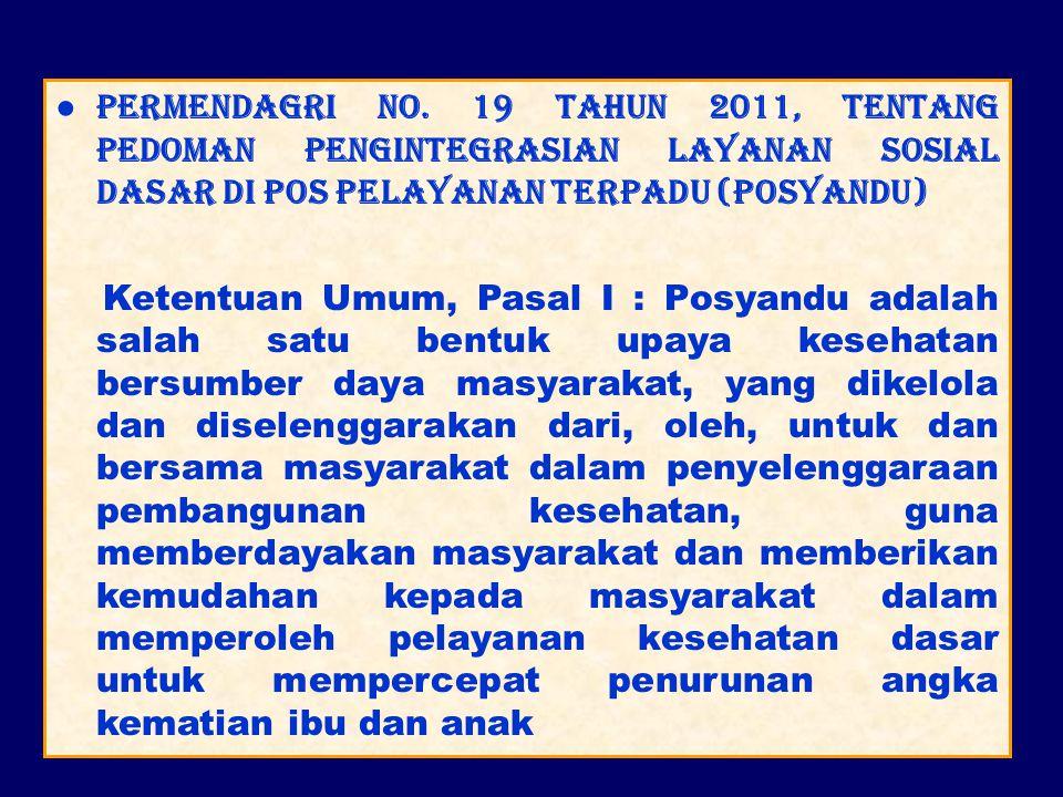 ● Permendagri No. 19 Tahun 2011, tentang Pedoman Pengintegrasian Layanan Sosial Dasar di Pos Pelayanan Terpadu (Posyandu) Ketentuan Umum, Pasal I : Po