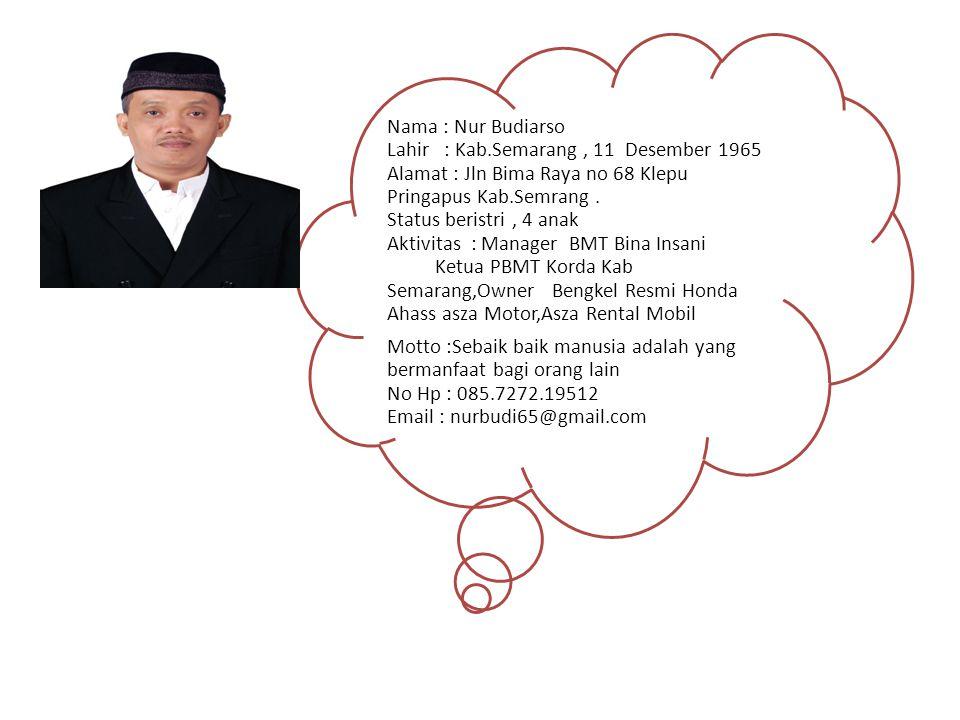 Nama : Nur Budiarso Lahir : Kab.Semarang, 11 Desember 1965 Alamat : Jln Bima Raya no 68 Klepu Pringapus Kab.Semrang. Status beristri, 4 anak Aktivitas