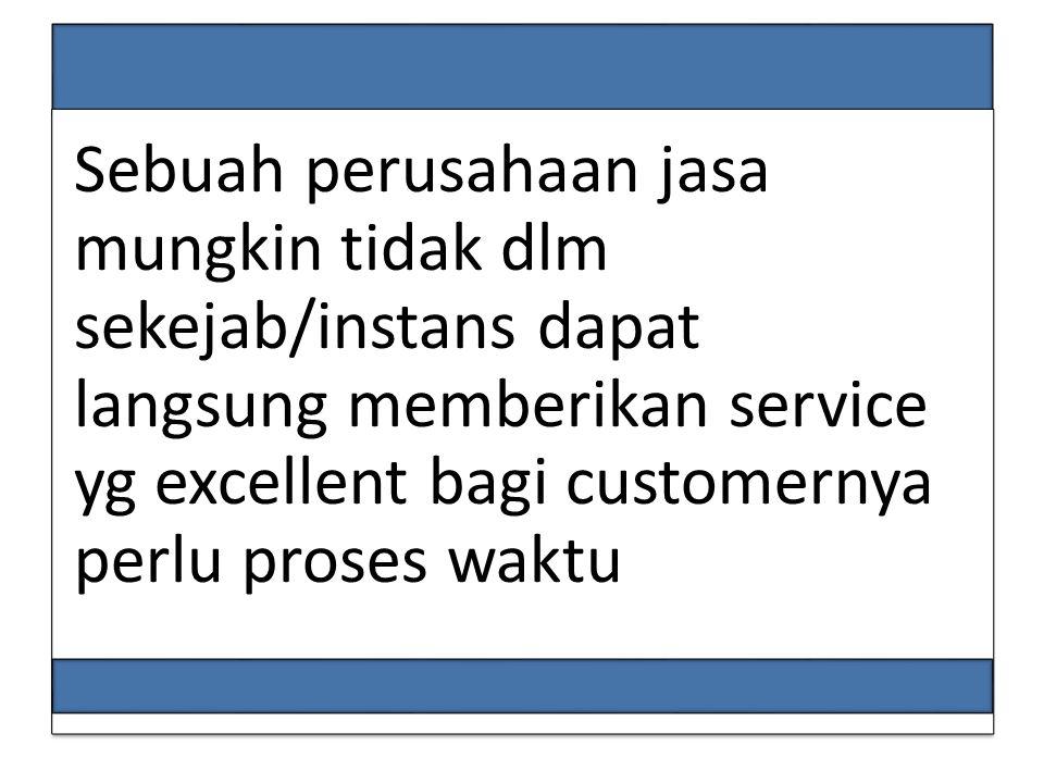 Sebuah perusahaan jasa mungkin tidak dlm sekejab/instans dapat langsung memberikan service yg excellent bagi customernya perlu proses waktu