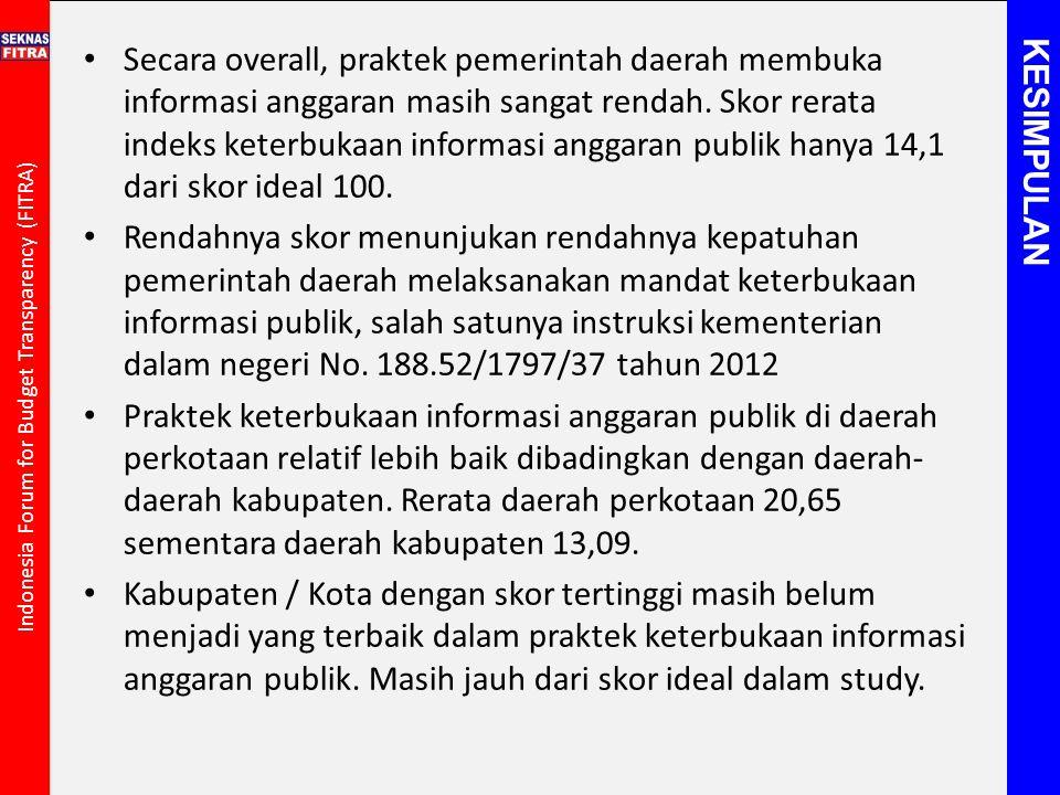 Secara overall, praktek pemerintah daerah membuka informasi anggaran masih sangat rendah. Skor rerata indeks keterbukaan informasi anggaran publik han