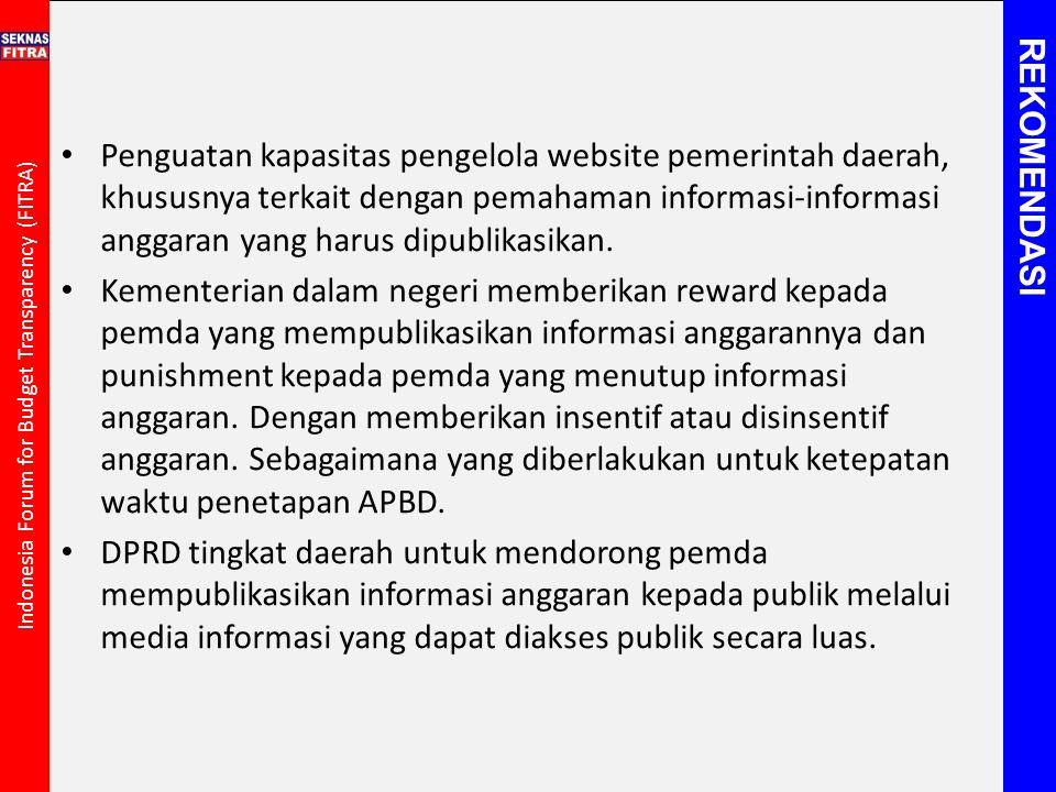 Indonesia Forum for Budget Transparency (FITRA) Penguatan kapasitas pengelola website pemerintah daerah, khususnya terkait dengan pemahaman informasi-