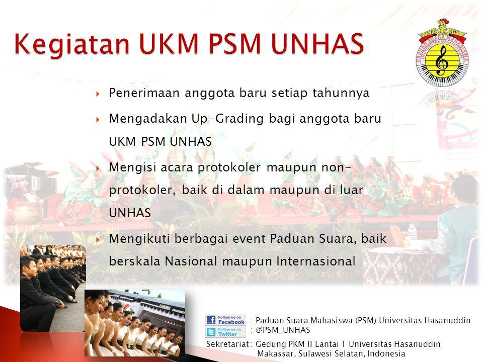  Penerimaan anggota baru setiap tahunnya  Mengadakan Up-Grading bagi anggota baru UKM PSM UNHAS  Mengisi acara protokoler maupun non- protokoler, b